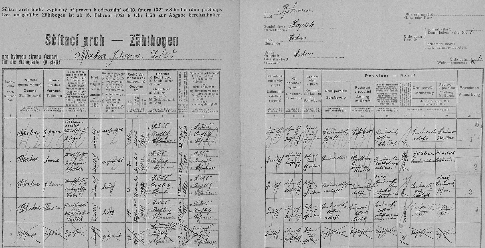 Arch sčítání lidu z roku 1921 pro stavení čp. 1 v Mladoňově