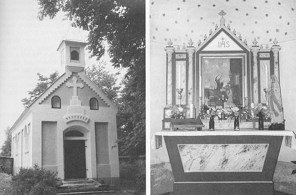 Roku 1997 renovovaná dešenická hřbitovní kaple sv. Anny a její oltář