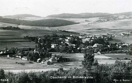 Dešenice na jiné pohlednici, jejímž autorem je Josef Seidel