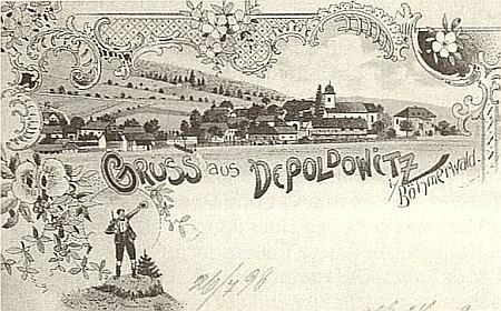 """Na staré pohlednici z Děpoltic """"im Böhmerwald"""" stojí místo lípy při kostele sv. Isidora ještě topol, vysoký téměř jako kostelní věž"""