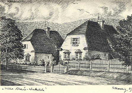 ... sousedící vily Josefa Blaua a Hanse Watzlika v Nýrsku na kresbě Williho Herziga z roku 1925...