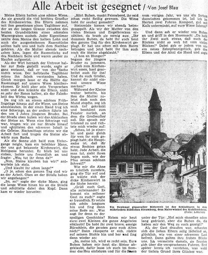 """Vzpomínka z jeho dětství, jak ji v září 1953 uveřejnil na svých stránkách ústřední list vyhnaných krajanů - doprovodný snímek je ovšem odjinud a zachycuje známou štramberskou """"trúbu"""" ze severomoravského, kdysi rovněž německy hovořícího Kravařska (Kuhländchen)"""