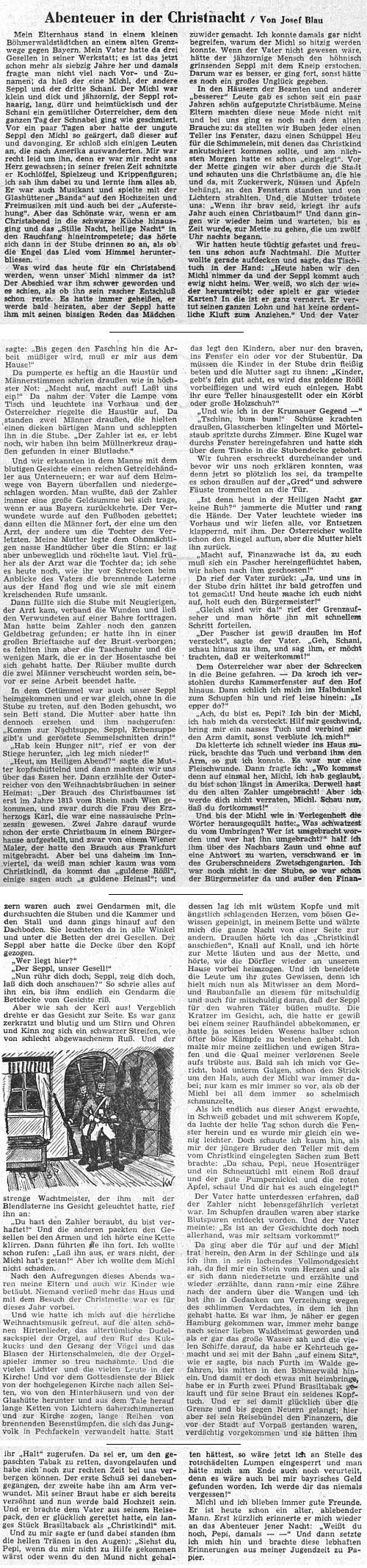 V roce 1955 zaplnila dětskou přílohu listu Sudetendeutsche Zeitung vlastně téměř celou vzpomínka na štědrovečerní noc z jeho šumavského dětství