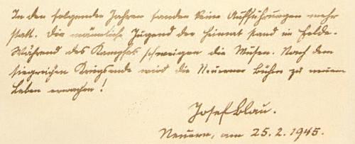 Jeho zápis v nýrské kronice z února 1945