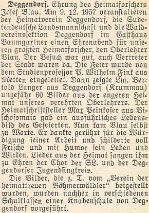O slavnostním večeru v Deggendorfu na jeho počest v prosinci roku 1957