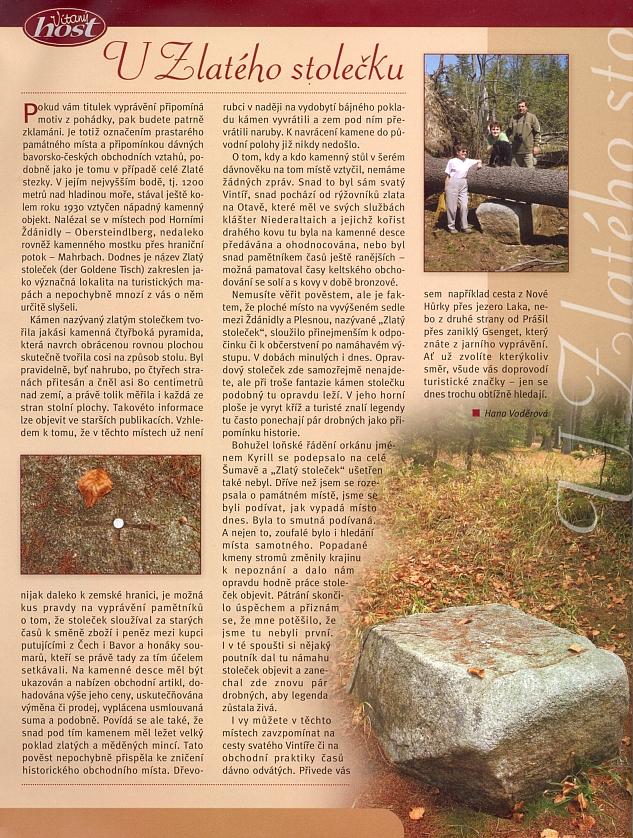 Článek Hany Voděrové o tom, jak hledat Zlatý stoleček, na stránkách časopisu, který rediguje
