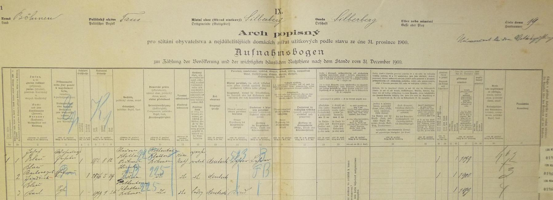 Arch popisný ze sčítání lidu (census) 1900 zaznamenává v Orlovicích (Silberberg) jeho zdejší pobyt i se ženou Barborou (*29.5.1876) a synem Karlem (*26.1.1899)