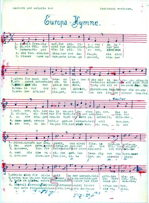 Jeho návrh znění evropské hymny