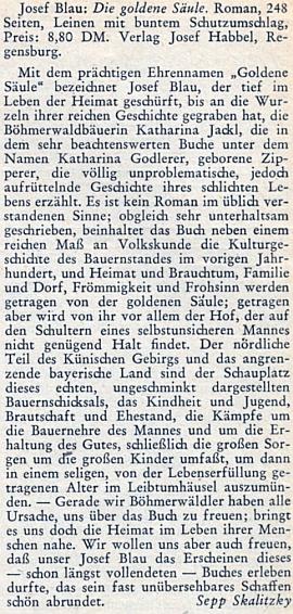 """Recenze jeho románu """"Die Goldene Säule"""" na stránkách krajanského měsíčníku, jejímž autorem je Sepp Skalitzky"""