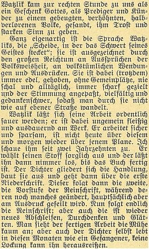 """O Watzlikovi kdysi napsal do českobudějovického časopisu """"Waldheimat"""", že """"k nám přišel v pravou chvíli jako Boží dar"""""""