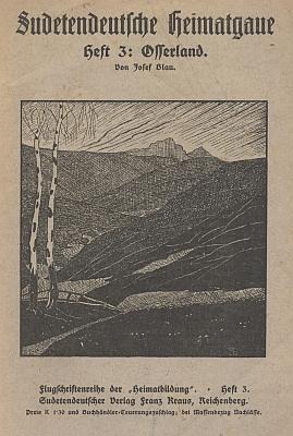 """Obálka jeho publikace, která vyšla v řadě """"Sudetendeutsche Heimatgaue"""" (ca 1920, nakladatelství Franz Kraus, Liberec)"""