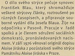 """Odstavec o něm z článku Hynka Pulánka vesborníku """"Z Chodského hradu"""", který vydalo Muzeum Chodska v Domažlicích roku 1988"""