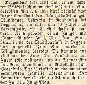 Zpráva o náhlém úmrtí jeho ženy Mathilde, roz. Mühlbauerové z Folmavy, ani ne měsíc ponarození jejího třetího dítěte