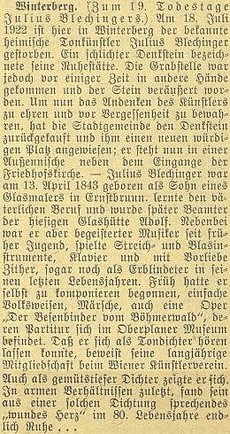 K 19. výročí jeho úmrtí dal vimperský městský úřad vsadit namísto zrušeného hrobu pamětní desku na vnějším výklenku vchodu do hřbitovního kostela, jak praví článek v Budweiser Zeitung s údaji o jeho životě a díle