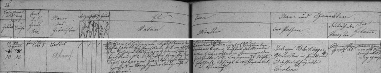 Narodil se podle záznamu křišťanovské farní matriky dílovedoucímu sklárny v Arnoštově čp. 1 Johannu Blechingerovi, synu tamního skelmistra Johanna Blechingera a jeho ženy Karoliny, kteří jsou podepsáni i jako kmotři novorozencovi, u jehož matky Karoliny Kollerové, dcery Barbary Kollerové (matčin otec Martin Koller byl sklářem v rakouském Sonnenwaldu na panství kláštera Schlagl), není uvedeno jméno otcovo