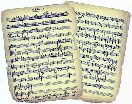 """Rukopisný notový záznam jeho mazurky """"Horské kvítko z Plekenštejna"""""""