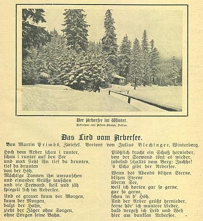 """Na tomto otištění písně """"o Javorském jezeře"""" je jako autor týchž slov uveden Martin Primbs ze Zwieselu"""