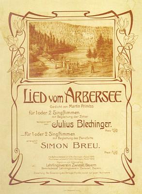 """Obálka (1902) notového materiálu k písni""""o Javorském jezeře"""""""