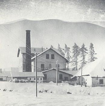 """Brusírna skla v Arnoštově, zvaná """"D' Schleif"""", v zimním hávu a s pozadím Dlouhé hory"""