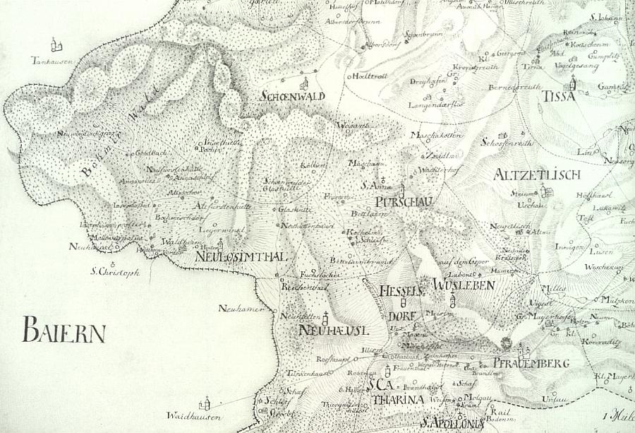 Okolí Pořejova na mapě borského vikariátu z roku 1831