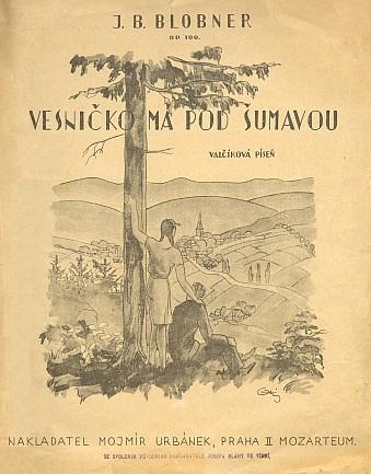"""Obálka a notový záznam jeho """"opusu č. 100"""" s českým textem K. Šimůnka"""