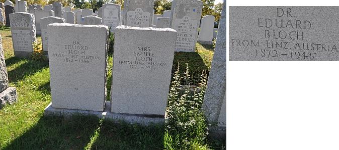 Hroby manželů Blochových na Beth David Cemetery v Elmontu