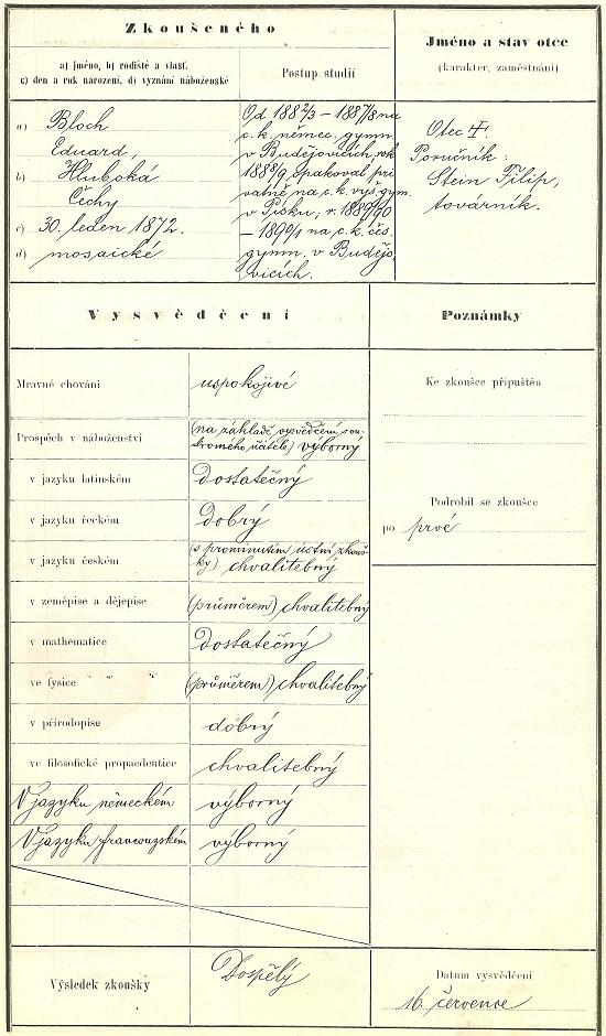 Záznam o jeho maturitní zkoušce na českobudějovickém Jirsíkově gymnáziu v roce 1891 ve školní dokumentaci