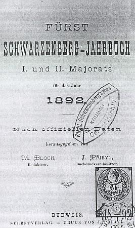 Titulní list knížecí Schwarzenberské ročenky s jeho jménem