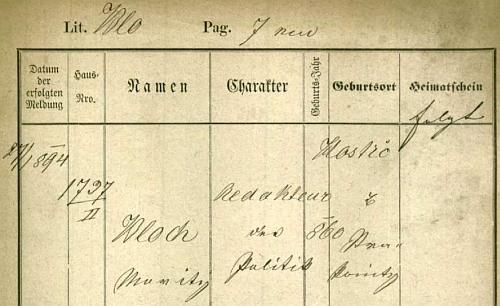 Pobytová přihláška pražského policejního ředitelství z roku 1894 uvádí chybně rok jeho narození a namísto Čkyně pak Hoštice u Strakonic