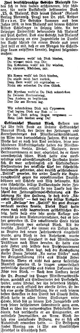 O tom, jak významnou osobností byl, svědčí rozáhlý nekrolog vPrager Tagblatt hned za citací neznámých německých veršů T.G.Masaryka
