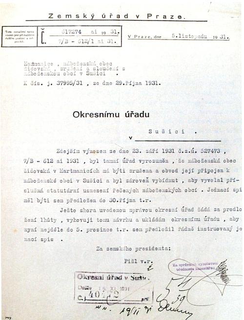 Přípis Zemského úřadu v Praze Okresnímu úřadu v Sušici ze dne 5.listopadu 1931 o plánovaném zrušení Židovské náboženské obce vHartmanicích