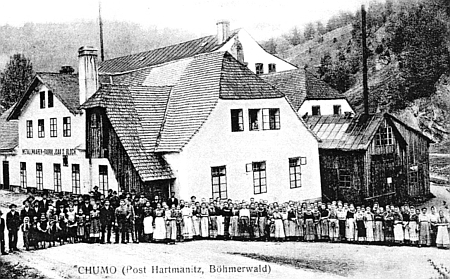 """Pohlednice s Blochovou """"Stanniolfabrik"""" v Chlumu (Chumo)"""