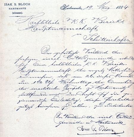 Originál jeho dopisu z 19. března roku 1884