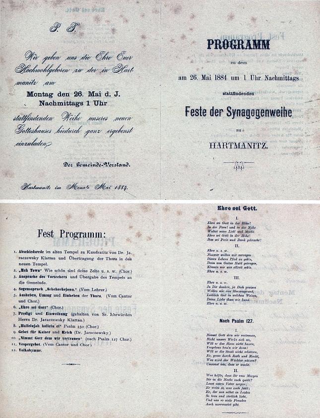 """Pozvánka a podrobný program slavnosti """"zasvěcení"""" nové synagogy v Hartmanicích, které se konalo 26. května 1884"""