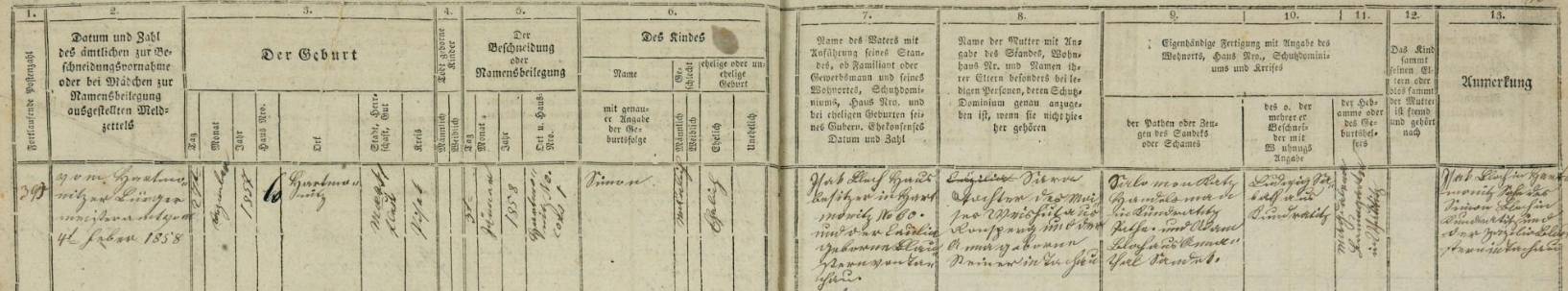 Záznam sušické židovské matriky o narození jeho syna Simona Blocha