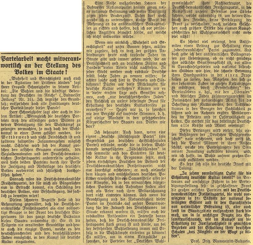 """V polemickém článku z volebního roku 1920 hájí stanovisko okrajové Německé demokratické strany svobodomyslné, která """"jediná umožňuje německy hovořícím a německy cítícím Židům účastnit se boje o německou kulturu"""" (strana ovšem v roce 1938 pod nacistickým vlivem zanikla)"""