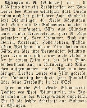 Zpráva o jeho dceři Beatě, která v roce 1955 získala jako šestá učitelská síla z Budějovic (!) místo vEsslingen na tamní Georgi-Schule