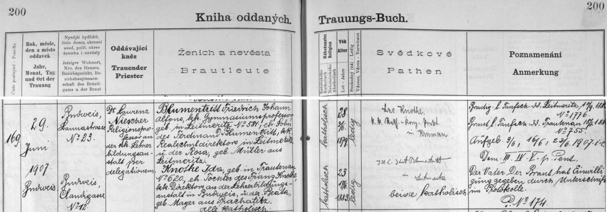 Záznam českobudějovické oddací matriky o Blumentrittově zdejší svatbě s Idou Knotheovou, dcerou ředitele c.k. německého učitelského ústavu v Českých Budějovicích Franze Knotheho a jeho ženy Beaty, roz. Mayerové zPrachatic - nevěsta se jim narodila v Trutnově čp. 620 dne 17. června roku 1883, její nastávající manžel Friedrich Johann Alfons Blumentritt, narozený v Litoměřicích čp. 581 jako syn Ferdinanda Blumentritta, ředitele tamní c.k. německé reálky a Rosy, roz. Müllerové rovněž z Litoměřic, byl podle data svého narození 3. června 1879 o čtyři roky starší nežli ona - za zmínku snad stojí i skutečnost, že oddávajícím knězem byl tu v červnu roku 1907 Blumentrittův učitelský kolega Laurenz Niescher