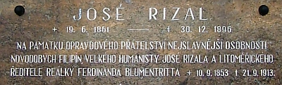 Otcovým přítelem byl filipínský humanista José Rizal (pamětní deska v Litoměřicích)