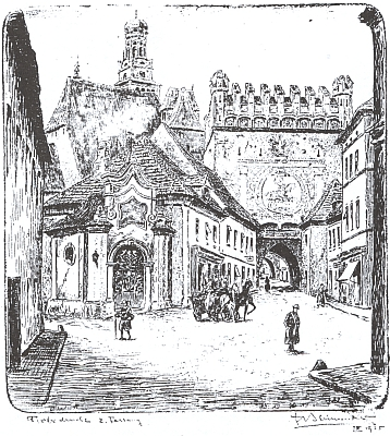 Jeho kresba Dolní brány v Prachaticích z roku 1925