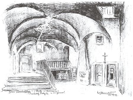 Dva světlíky v prvním patře prachatického domu čp. 62 na jeho kresbě z roku 1939
