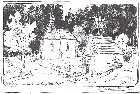 Jeho kresba pramene a kaple v Lázních svaté Markéty u Prachatic pochází z roku 1922