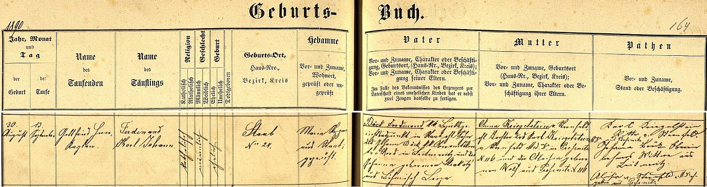 Záznam o jeho narození ve stodské křestní matrice