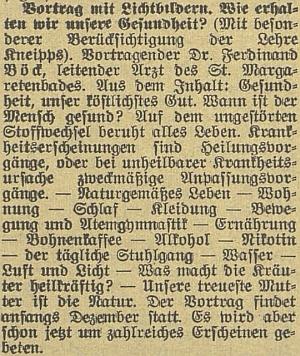 Originál pozvánky na jeho přednášku v českobudějovickém německém listu