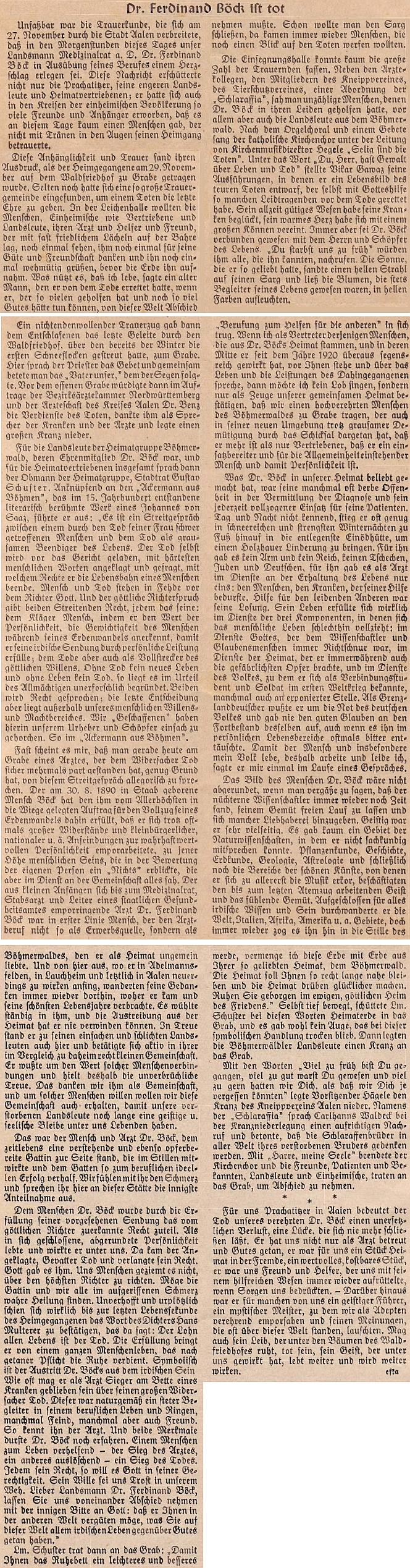 Nekrolog do krajanského časopisu napsal Franz Kreipl