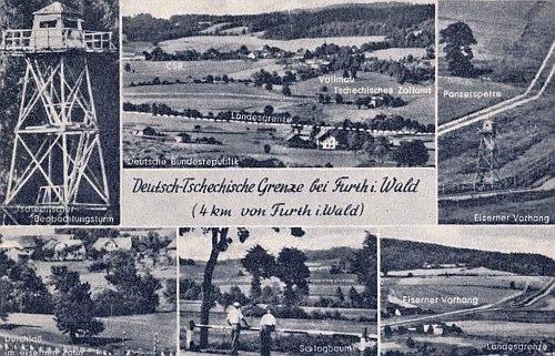 """Pohlednice z časů """"železné opony"""" s hranicí při Furth im Walde"""