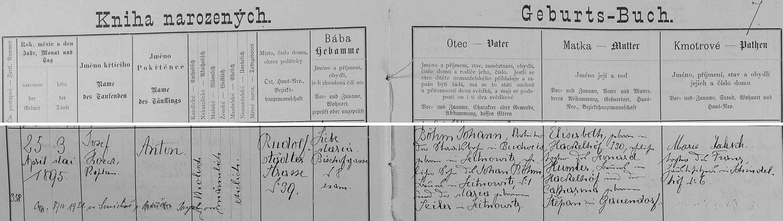 """V indexu """"Knihy narozených"""" ho v roce 1895 nacházíme hned na prvém místě mezi příjmeními, začínajícími písmenem """"B"""", strana 7 však v matrice bohužel chybí"""