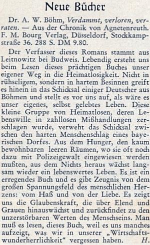 """Recenze jeho knihy, podepsané šifrou """"H."""", tající zřejmě Ericha Hanse"""
