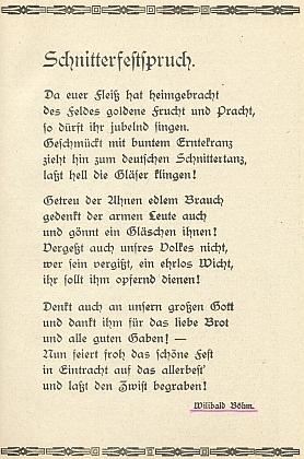 """Jeho báseň """"Slavnostní průpověď ženců"""" vyšla ve válečném kalendáři, vydaném v Budějovicích roku 1942 a na obálce provázeném citátem z Adolfa Hitlera"""