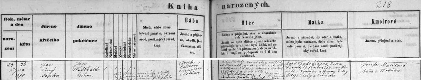 Ve vodňanské matrice je jméno novorozencovo psáno Jan Wilibald Böhm a jeho narození a křest předcházely sňatku úředníka Wilibalda Böhma, který tu stvrzuje otcovství svým podpisem, syna soudního sluhy Jana Böhma a Marie Drškové z Prachatic, s Marií Vondráškovou, dcerou Františka Vondráška, soukeníka z Vodňan a Anny, dcery Matěje Skaly z Vodňan